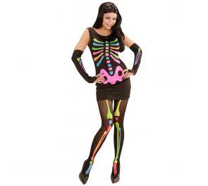 Neon Skeleton Girl – Luurankomekko neonväreissä