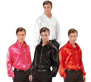 Miesten kiiltävä disco-paita frillakoristein
