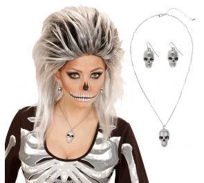 Silver Skull -kaulakoru & korvakorut