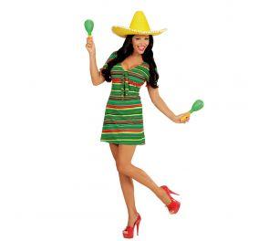 Raidallinen meksiko-tyylinen mekko