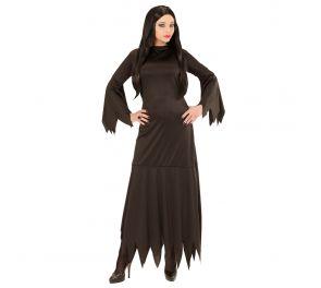 Morticia – musta mekko sahalaitaleikkauksin