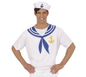 Valko-sininen seilori-paita aikuiselle