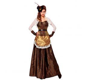 Steampunk-henkinen pitkä, ruskea mekko