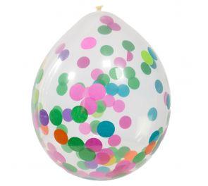 Ilmapallot, joiden sisällä on värikästä konfettia