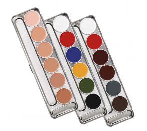 Kryolan Supracolor -paletti sisältää kuusi eri väristä maskeerausvoidetta