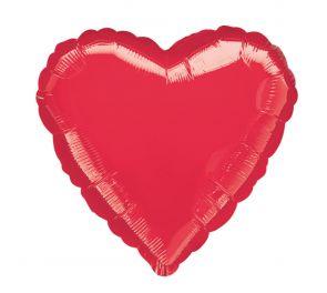 Sydän-foliopallo hohtaa leiskuvan punaisena