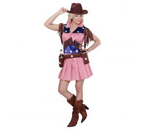 Rodeo-tytön mekko hapsukoristein aikuiselle