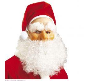 Joulupukki-naamari tonttulakilla ja parralla