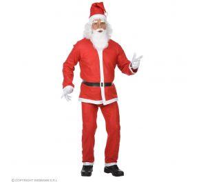 Punainen joulupukin asu tonttulakilla ja parralla.