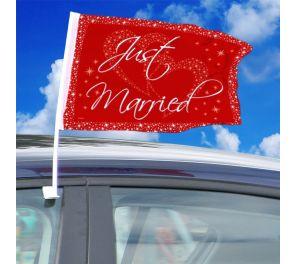 Just Married -liput hääkoristeeksi autoon