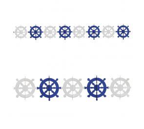 Koristeköynnös, siniset ja valkoiset ruorit