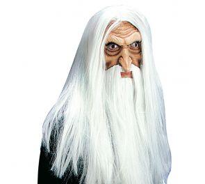 Merlin-velhonaamari, valkoiset hiukset ja parta