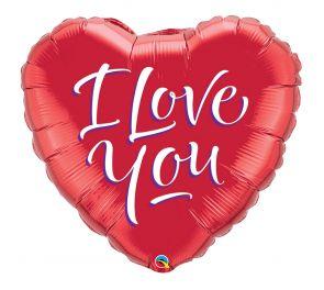 Foliopallo I Love You-tekstillä