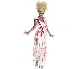 Zombie tyttö – valkoinen pitkä mekko punaisilla tahroilla
