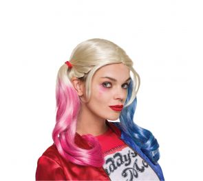 Upea kolmivärinen Harley Quinn -saparoperuukki
