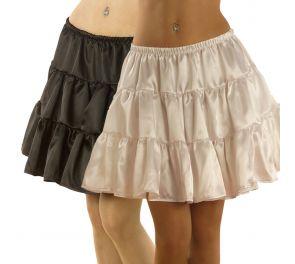 Valkoinen tai musta satiininen alushame