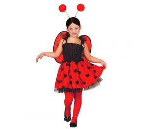Punamusta leppäkerttu-mekko lapsille