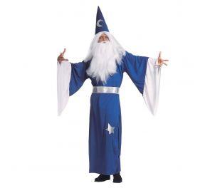 Sininen taikurin-kaapu, vyö sekä hattu aikuiselle