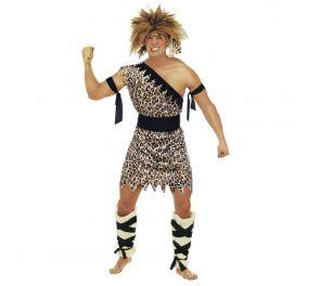 Leopardikuvioitu luolamiehen-naamiaisasu aikuiselle