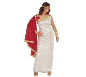 Valkoinen velour-mekko punaisella viitalla jumalattarille