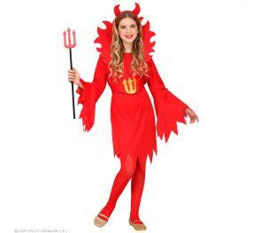 Punainen piru-asu lapsille; mekko liehuhihoin sekä pystykaulus