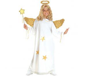 Valkoinen mekko ja kultainen sädekehä enkelille