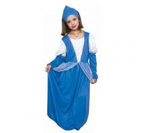 Pitkä sininen prinsessa-mekko ja tiara-päähine lapsille