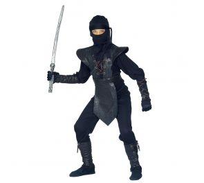 Lasten musta Ninja-asu itämaisille taistelijoille