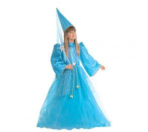 Sininen pitkä prinsessa-mekko lapsille