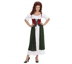 Pitkä mekko, korsettimaisen yläosan kanssa, sopii Oktoberfest-teemaan