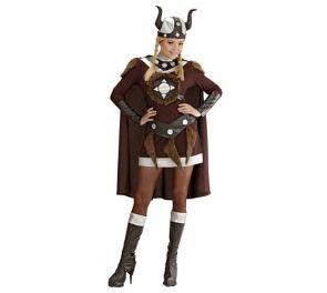 Ruskea viikinki-mekko upeilla yksityiskohdilla aikuisille