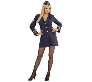 Lentoemon sininen mekko-takki sekä suikka