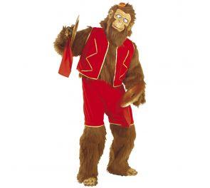 Aikuisten apina-karvahaalari, jolla sirkus-teemaiset vaatteet päällä