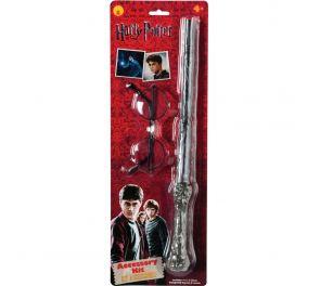 Upea Harry Potter -tuotesetti sisältäen lasit ja taikasauvan