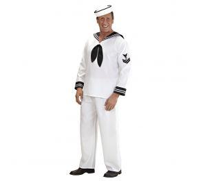 Valkoinen merimiehen asukokonaisuus aikuisille