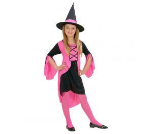 Lasten pinkki-musta mekko sekä hattu noidalle