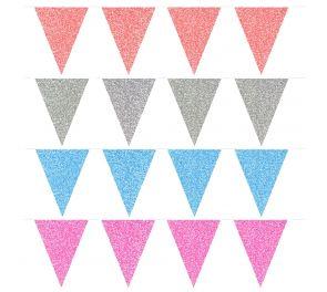 Lippusiimat, glitter-hohtoisilla lipuilla, eri värejä