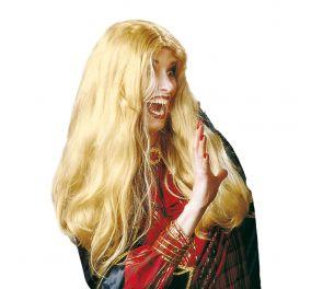 Pitkähiuksinen, vaalea Morgana-peruukki keskijakauksella