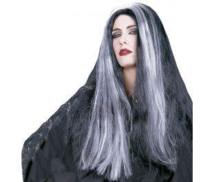 Pitkä musta peruukki valkoisilla sivuraidoilla