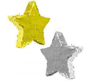 Tyylikkäät metallinhohtoiset tähti-pinjatat