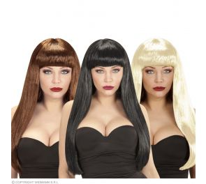 Pitkä Julia-peruukki otsatukalla: ruskea, musta tai vaalea
