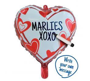 Foliopallo, johon voit itse kirjoittaa viestin rakkaallesi