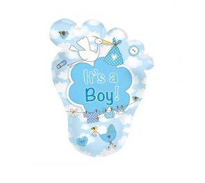 """""""It's a Boy"""" - jalkapohjan muotoinen foliopallo"""