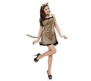 Ruskea leopardi-mekko aikuisille