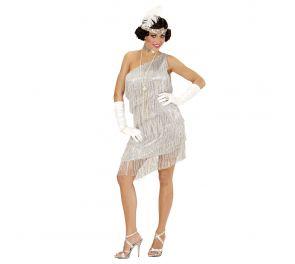 Upea hopeanvärinen mekko 20-luvun tyyliin