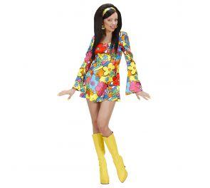 Värikäs kukka-mekko hippi-tytölle