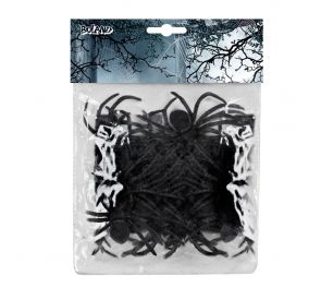 Pussillinen mustia muovisia hämähäkkejä