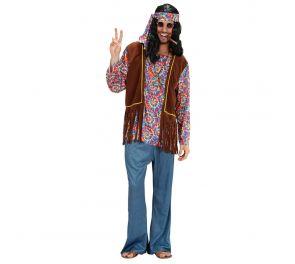 Paita, liivi, housut, pääpanta ja koru hippimiehelle