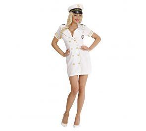 Valkoinen meri-kapteenin asu naisille