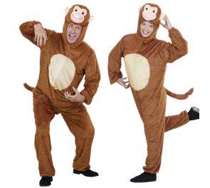 Aikuisten hauska apina-asu on tehty karvakankaasta